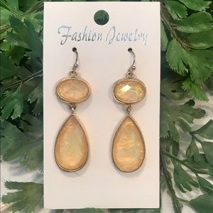 Yellow iridescent cabochon drop earrings